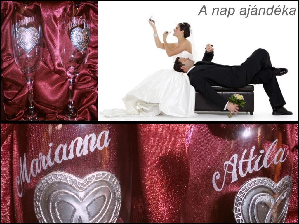 pezsgőspohár óndíszítéssel esküvőre